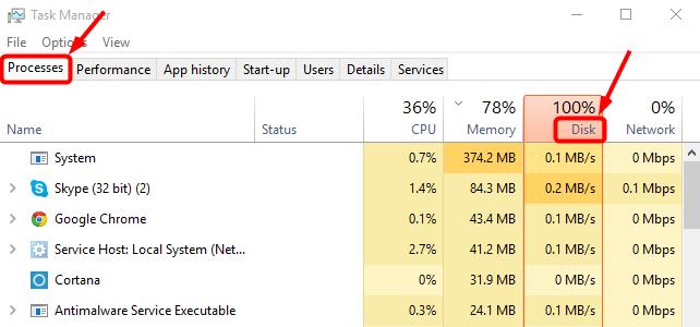 حل مشكلة 100% disk usage على windows 10